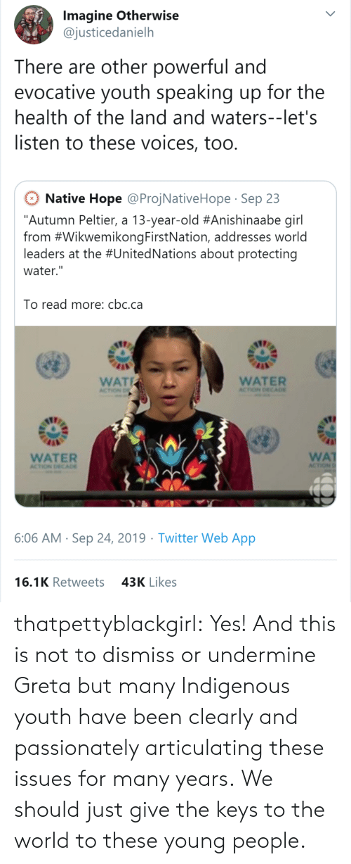 "wat: Imagine Otherwise  @justicedanielh  There are other powerful and  evocative youth speaking up for the  health of the land and waters--let's  listen to these voices, too.  Native Hope @ProjNativeHope Sep 23  ""Autumn Peltier, a 13-year-old #Anishinaabe girl  from #WikwemikongFirstNation, addresses world  leaders at the #UnitedNations about protecting  water.""  To read more: cbc.ca  WAT  WATER  ACTION DECA0E  ACTION D  WA  ACTION  WATER  ACTION DECADE  6:06 AM Sep 24, 2019 Twitter Web App  16.1K Retweets  43K Likes thatpettyblackgirl:  Yes! And this is not to dismiss or undermine Greta but many Indigenous youth have been clearly and passionately articulating these issues for many years.    We should just give the keys to the world to these young people."