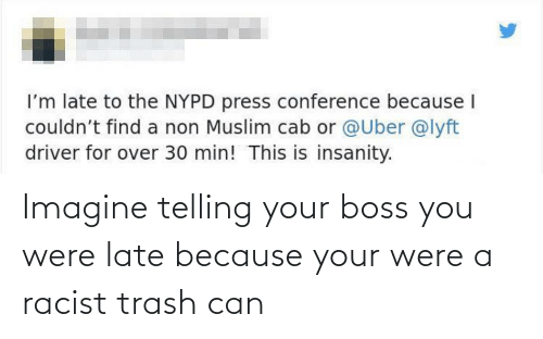 trash can: Imagine telling your boss you were late because your were a racist trash can