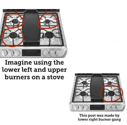 Burners: Imagine using the  lower left and upper  burners on a stove  This post was made by  lower right burner gang