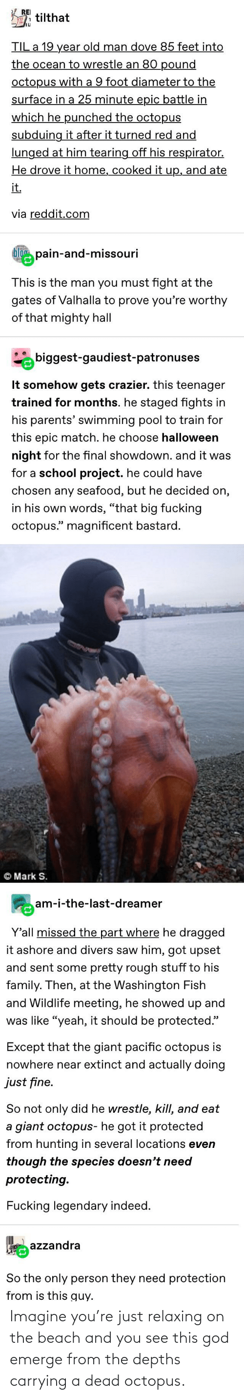 Just Relaxing: Imagine you're just relaxing on the beach and you see this god emerge from the depths carrying a dead octopus.