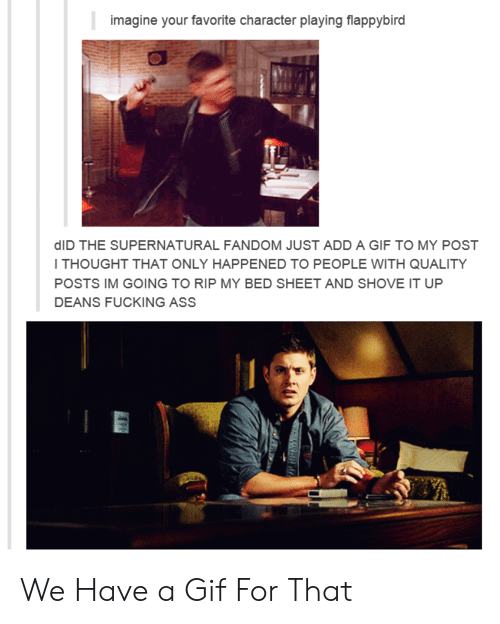 Supernatural Fandom: imagine your favorite character playing flappybird  dID THE SUPERNATURAL FANDOM JUST ADD A GIF TO MY POST  I THOUGHT THAT ONLY HAPPENED TO PEOPLE WITH QUALITY  POSTS IM GOING TO RIP MY BED SHEET AND SHOVE IT UP  DEANS FUCKING ASS We Have a Gif For That