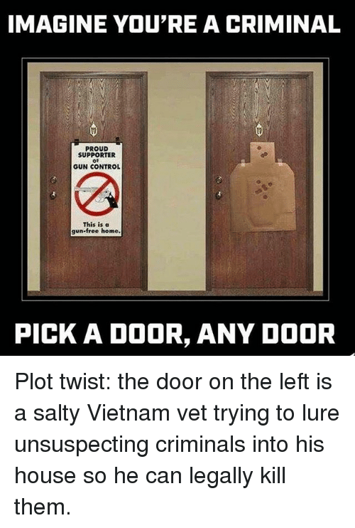 Memes, Being Salty, and Control: IMAGINE YOU'RE A CRIMINAL  PROUD  SUPPORTER  OF  GUN CONTROL  This is a  gun-free home.  PICK A DOOR, ANY DOOR Plot twist: the door on the left is a salty Vietnam vet trying to lure unsuspecting criminals into his house so he can legally kill them.