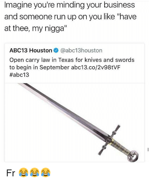 """Funny, My Nigga, and Run: Imagine you're minding your business  and someone run up on you like """"have  at thee, my nigga'  ABC1 3 Houston. @abc13houston  Open carry law in Texas for knives and swords  to begin in September abc13.co/2v98tVF  Fr 😂😂😂"""