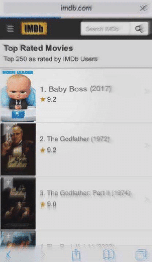 The Godfather: imdb.com  IMDb  Search IMDb  Top Rated Movies  Top 250 as rated by IMDb Users  BORN LEADER  1. Baby Boss (2017)  9.2  2, The Godfather  1972)  9.2  3, The Godfather Part ll 1974)  9.0
