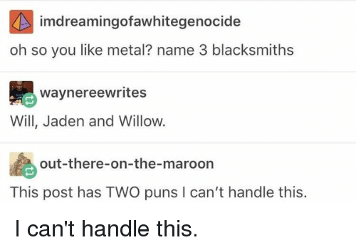 memes: imdreamingofawhitegenocide  oh so you like metal? name 3 blacksmiths  waynereewrites  Will, Jaden and Willow.  out-there-on-the-maroon  This post has Two puns l can't handle this I can't handle this.