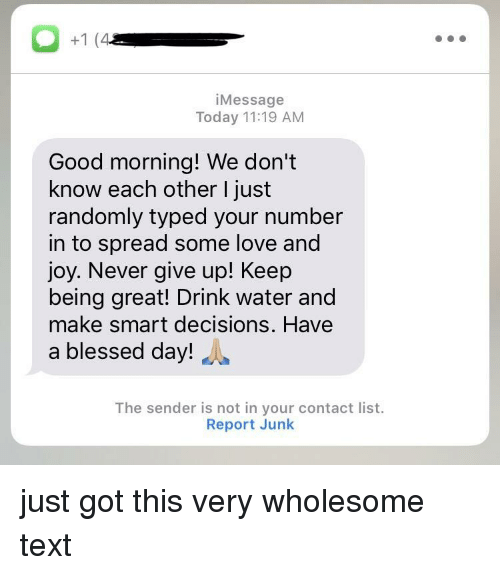 blessed day: iMessage  Today 11:19 AM  Good morning! We don't  know each other I just  randomly typed your number  in to spread some love and  joy. Never give up! Keep  being great! Drink water and  make smart decisions. Have  a blessed day!  The sender is not in your contact list.  Report Junk just got this very wholesome text