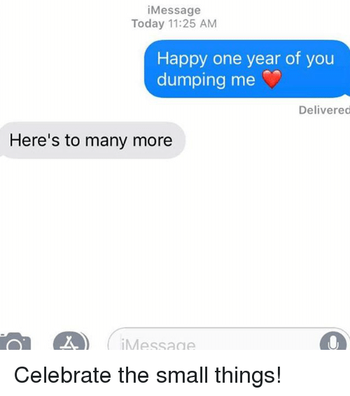 Relationships, Texting, and Happy: iMessage  Today 11:25 AM  Happy one year of you  dumping me .)  Delivered  Here's to many more  iMessage Celebrate the small things!