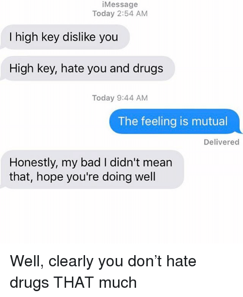 Bad, Drugs, and Relationships: iMessage  Today 2:54 AM  I high key dislike you  High key, hate you and drugs  Today 9:44 AM  The feeling is mutual  Delivered  Honestly, my bad I didn't mean  that, hope you're doing well Well, clearly you don't hate drugs THAT much
