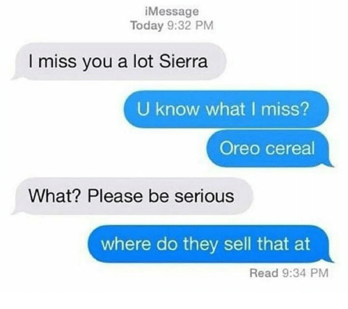 iMessage Today 932 PM I Miss You a Lot Sierra U Know What ...