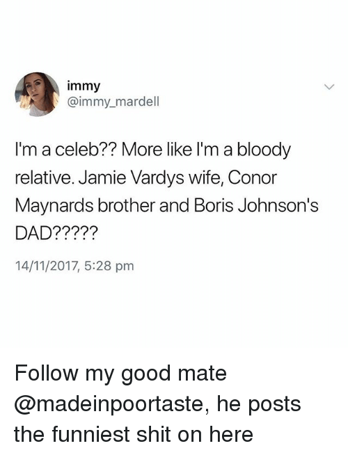 johnsons: immy  @immy_mardell  I'm a celeb?? More like l'm a bloody  relative. Jamie Vardys wife, Conor  Maynards brother and Boris Johnson's  DAD?????  14/11/2017, 5:28 pm Follow my good mate @madeinpoortaste, he posts the funniest shit on here