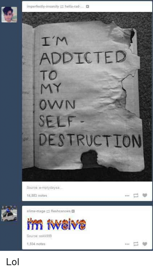 Lol, Tumblr, and Addicted: imperfectly-insanity hella-radO  I'M  ADDICTED  TO  rt  OWN  SELF  DESTRUCTION  Sburte e-niptydaysa  14,883 notes  fleshcanoes a  Source:ssk 999  1.534 notes Lol