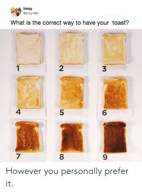 2 3 4 5: Imzy  GImzy1991  What is the correct way to have your toast?  2  3  4  5  6  7  8  9 However you personally prefer it.