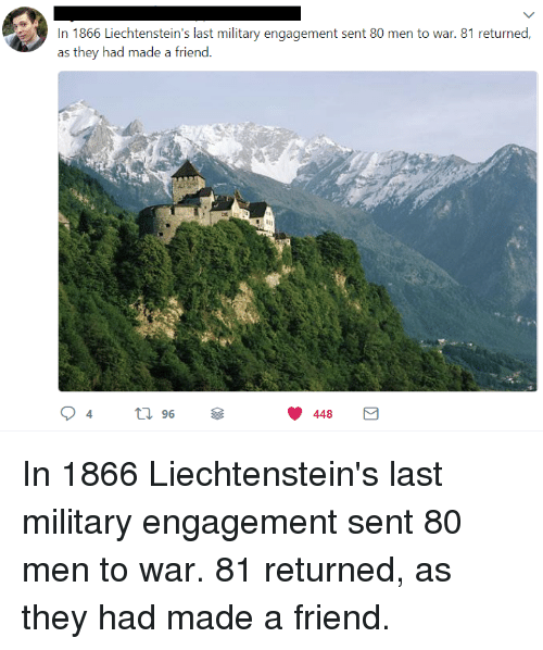 Military, War, and Friend: In 1866 Liechtenstein's last military engagement sent 80 men to war. 81 returned,  as they had made a friend.  96  448