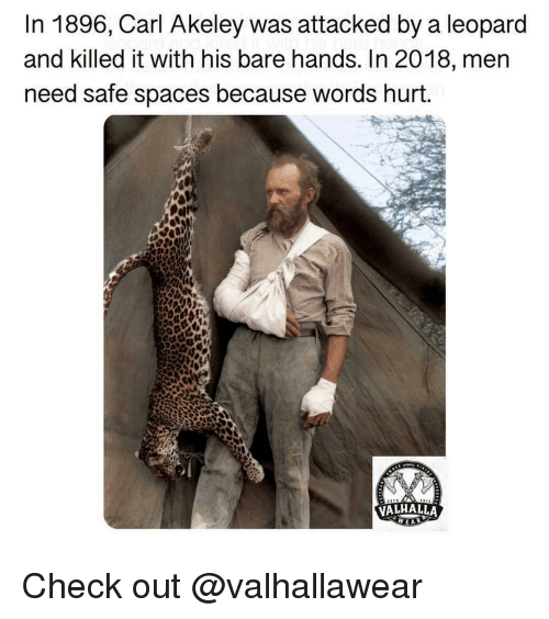 words hurt: In 1896, Carl Akeley was attacked by a leopard  and killed it with his bare hands. In 2018, mern  need safe spaces because words hurt.  VALHALLA Check out @valhallawear