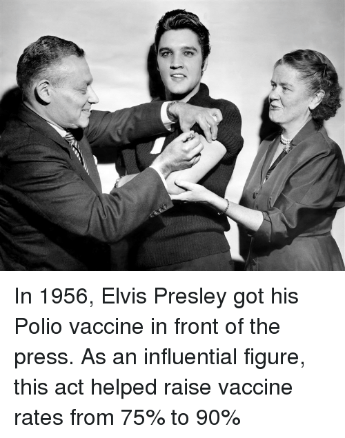 Elvis Presley: In 1956, Elvis Presley got his Polio vaccine in front of the press. As an influential figure, this act helped raise vaccine rates from 75% to 90%