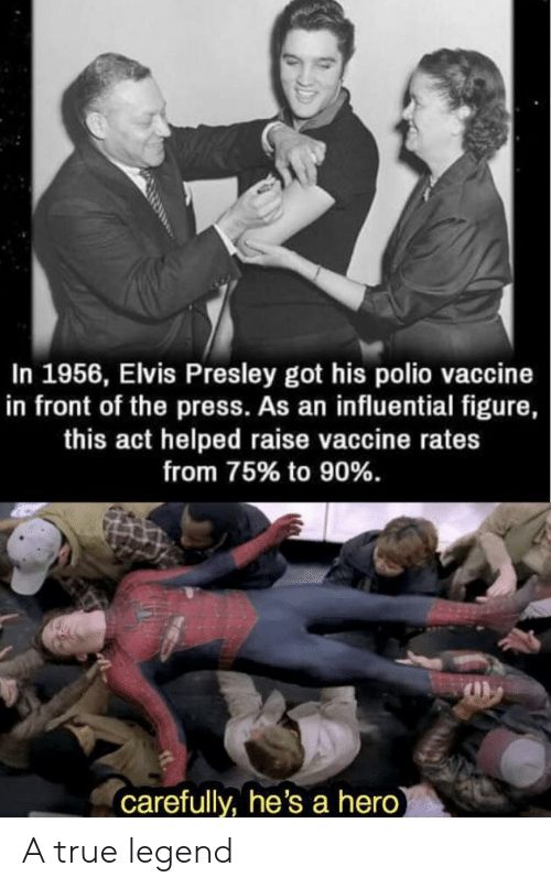 Elvis Presley: In 1956, Elvis Presley got his polio vaccine  in front of the press. As an influential figure,  this act helped raise vaccine rates  from 75% to 90%.  carefully, he's a hero A true legend