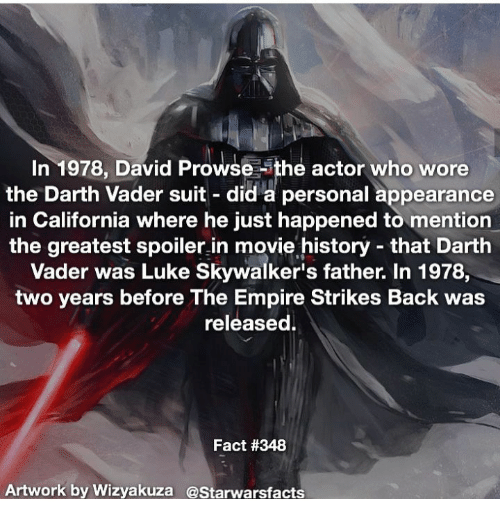 In 1978 David Prowse Ithe Actor Who Wore the Darth Vader ...