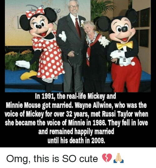 mouses: In 1991 the reallife Mickey and  Minnie Mouse got married. Wayne Allwine, who was the  voice of Mickey for over 32 years, met Russi Taylor when  she became the voice of Minnie in 1986. They fell in love  and remained happily married  until his death in 2009. Omg, this is SO cute 💔🙏🏼