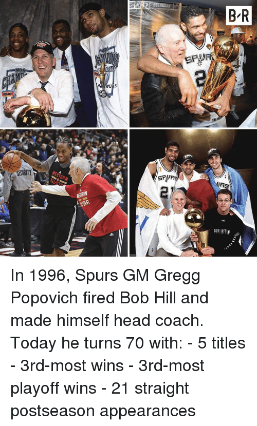Appearances: In 1996, Spurs GM Gregg Popovich fired Bob Hill and made himself head coach.  Today he turns 70 with: - 5 titles - 3rd-most wins - 3rd-most playoff wins - 21 straight postseason appearances