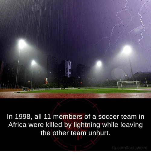 fb.com: In 1998, all 11 members of a soccer team in  Africa were killed by lightning while leaving  the other team unhurt.  fb.com/factsweird