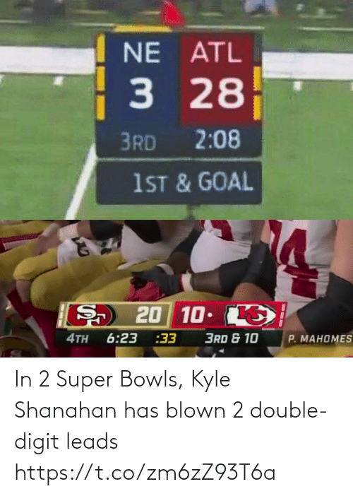 Blown: In 2 Super Bowls, Kyle Shanahan has blown 2 double-digit leads https://t.co/zm6zZ93T6a