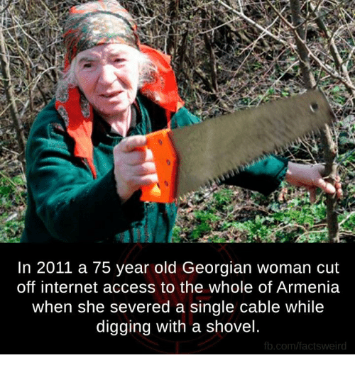 Georgian: In 2011 a 75 year old Georgian woman cut  off internet access to the whole of Armenia  when she severed a single cable while  digging with a shovel  fb.com/facts weird