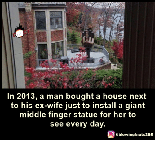 Memes, Giant, and House: In 2013, a man bought a house next  to his ex-wife just to install a giant  middle finger statue for her to  see every day.  O @blowingfacts365