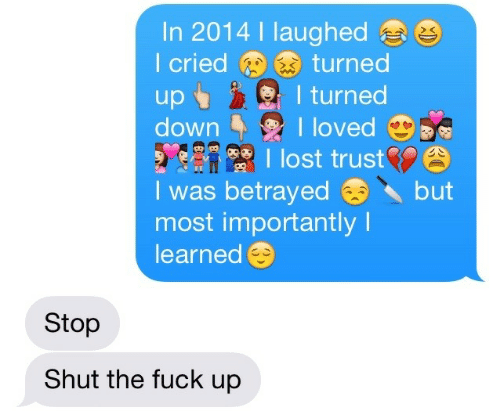 shut-the-fuck: In 2014 I laughed  I criedturned  sI turned  downloved  lost trust  I was betrayedbut  most importantly I  learned  Stop  Shut the fuck up