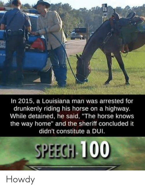 """sheriff: In 2015, a Louisiana man was arrested for  drunkenly riding his horse on a highway.  While detained, he said, """"The horse knows  the way home"""" and the sheriff concluded it  didn't constitute a DUI  SPEECH 100 Howdy"""