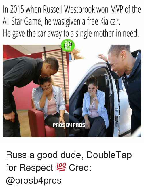 Russel Westbrook: In 2015 when Russell Westbrook won MP of the  All Star Game, he was given a free Kia car.  He gave the car away to a single mother in need  PRO3  PROS  PROS BH PRO Russ a good dude, DoubleTap for Respect 💯 Cred: @prosb4pros