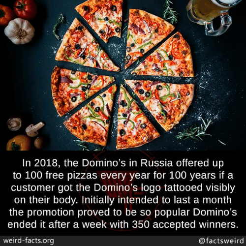 Domino's: In 2018, the Domino's in Russia offered up  to 100 free pizzas every year for 100 years if a  customer got the Domino's logo tattooed visibly  on their body. Initially intended to last a month  the promotion proved to be so popular Domino's  ended it after a week with 350 accepted winners  weird-facts.org  @factsweird