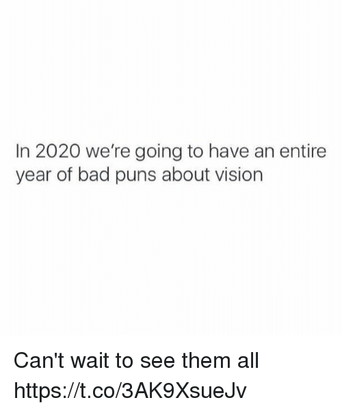 Bad Puns: In 2020 we're going to have an entire  year of bad puns about vision Can't wait to see them all https://t.co/3AK9XsueJv