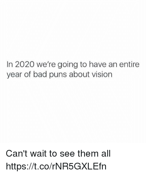 Bad Puns: In 2020 we're going to have an entire  year of bad puns about vision Can't wait to see them all https://t.co/rNR5GXLEfn
