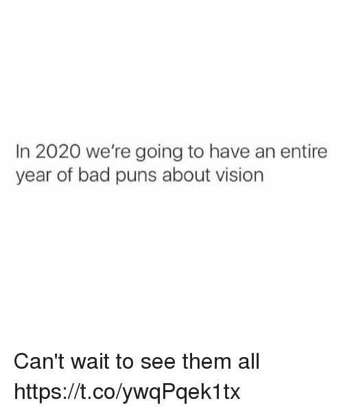 Bad Puns: In 2020 we're going to have an entire  year of bad puns about vision Can't wait to see them all https://t.co/ywqPqek1tx
