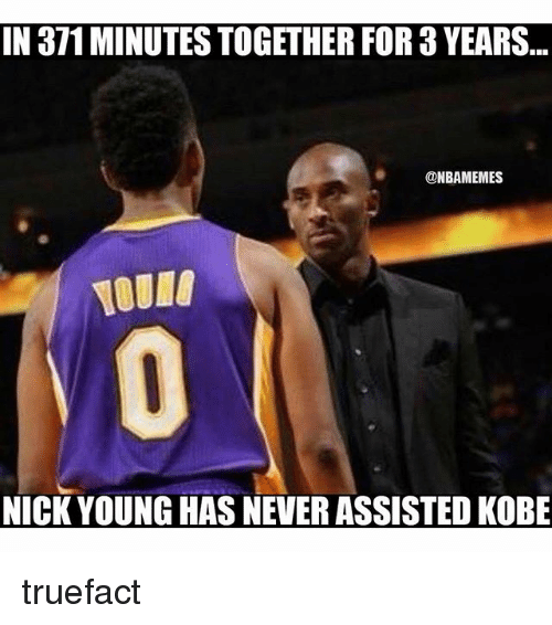 Nba, Nick Young, and Kobe: IN 371MINUTES TOGETHER FOR YEARS  @NBAMEMES  NICK YOUNG HAS NEVER ASSISTED KoBE truefact