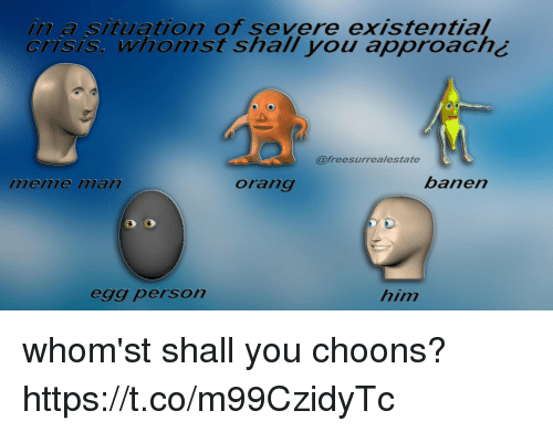 Whomst: in a situation of severe existential  crisis, whomst shall you approach¿  @freesurrealestate  menme ilan  orang  banen  egg person  him whom'st shall you choons? https://t.co/m99CzidyTc