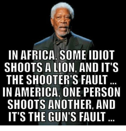 Africa, America, and Guns: IN AFRICA, SOME IDIOT  SHOOTS A LION, AND IT'S  THE SHOOTER'S FAULT  IN AMERICA ONE PERSON  SHOOTS ANOTHER, AND  IT'S THE GUN'S FAULT