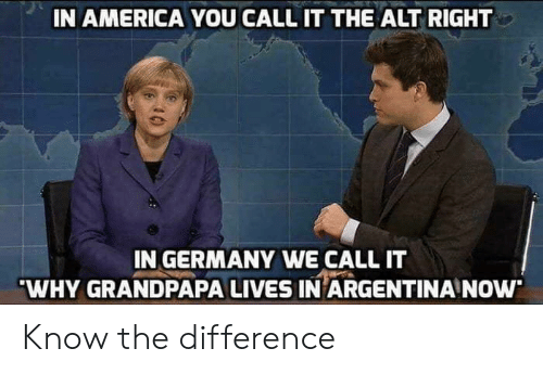 alt-right: IN AMERICA YOU CALL IT THE ALT RIGHT  IN GERMANY WE CALL IT  WHY GRANDPAPA LIVES IN ARGENTINA NOw Know the difference