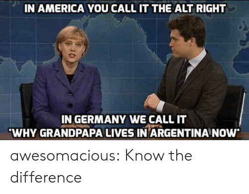 alt-right: IN AMERICA YOU CALL IT THE ALT RIGHT  IN GERMANY WE CALL IT  WHY GRANDPAPA LIVES IN ARGENTINA NOw awesomacious:  Know the difference