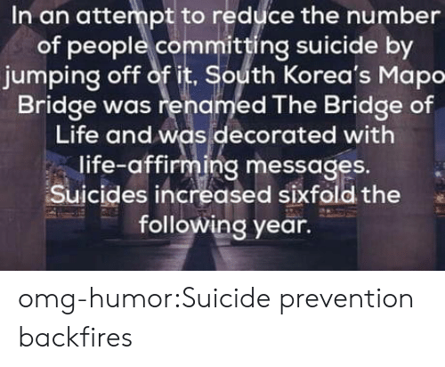 Committing Suicide: In an attempt to reduce the number  of people committing suicide by  jumping off of it, South Korea's Mapo  Bridge was renamed The Bridge of  Life and was decorated with  life-affirming messages.  Suicides increased sixfold the  following year. omg-humor:Suicide prevention backfires