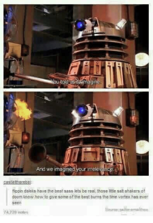 Best Burns: in  And we imagined our rele hce  fippin daleks have the best sass lets be reai, those little salt shakers of  doom know how to give some of the best burns the time vortex has ever  seen  4,729 o