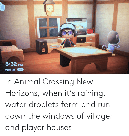 raining: In Animal Crossing New Horizons, when it's raining, water droplets form and run down the windows of villager and player houses