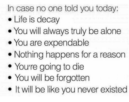 In Case No One Told You Today Life Is Decay You Will
