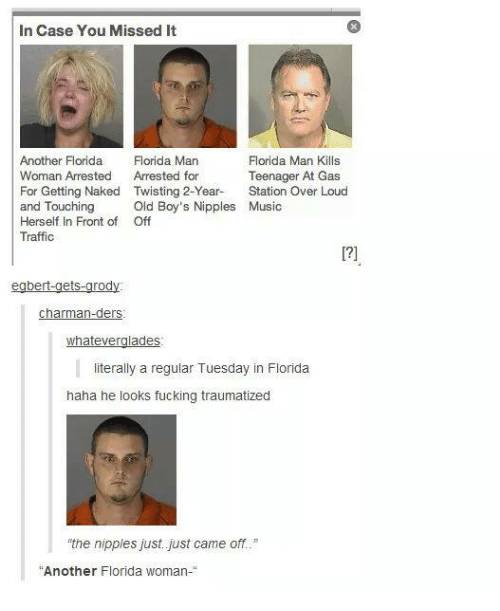 "Florida Man, Fucking, and Funny: In Case You Missed It  Florida Man Kills  Another Florida  Florida Man  Woman Arrested  Arrested for  Teenager At Gas  For Getting Naked Twisting 2-Year.  Station Over Loud  and Touching  Old Boy's Nipples Music  Herself In Front of Off  Traffic  bert-get  rod  Charman-ders  whatever  ades  literally a regular Tuesday in Florida  haha he looks fucking traumatized  the nipples just just came off.""  Another Florida woman-"