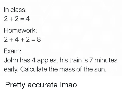 Funny: In class  Homework:  2 4 2 8  Exam  John has 4 apples, his train is 7 minutes  early. Calculate the mass of the sun Pretty accurate lmao