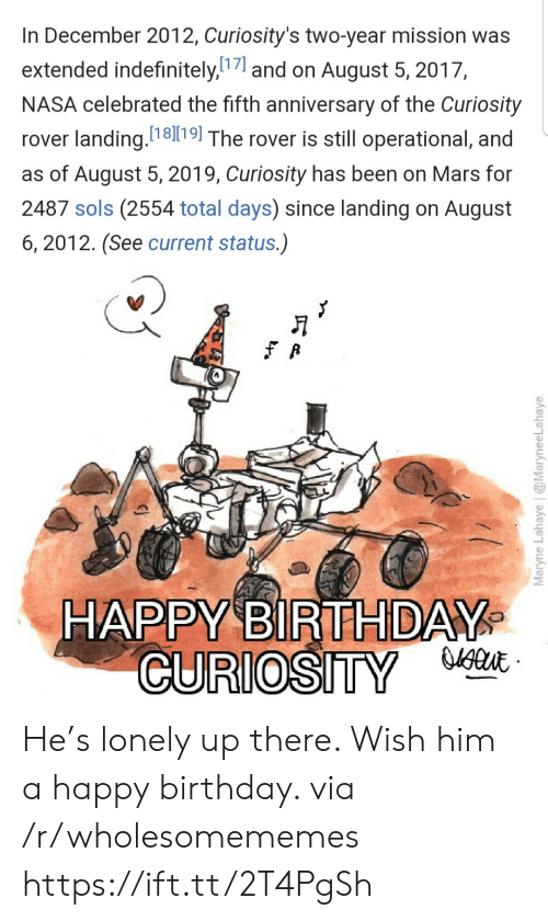 Celebrated: In December 2012, Curiosity's two-year mission was  extended indefinitely,7and on August 5, 2017,  NASA celebrated the fifth anniversary of the Curiosity  rover landing. 1819| The rover is still operational, and  as of August 5, 2019, Curiosity has been on Mars for  2487 sols (2554 total days) since landing on August  6, 2012. (See current status.)  HAPPY BIRTHDAY  CURIOSITY  Maryne Lahaye | @MaryneeLahaye He's lonely up there. Wish him a happy birthday. via /r/wholesomememes https://ift.tt/2T4PgSh