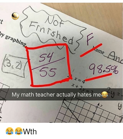 Memes, Teacher, and Math: In  ed P  gra  Name  (3.2)  My math teacher actually hates me 😂😂Wth