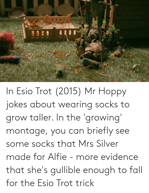 Silver: In Esio Trot (2015) Mr Hoppy jokes about wearing socks to grow taller. In the 'growing' montage, you can briefly see some socks that Mrs Silver made for Alfie - more evidence that she's gullible enough to fall for the Esio Trot trick