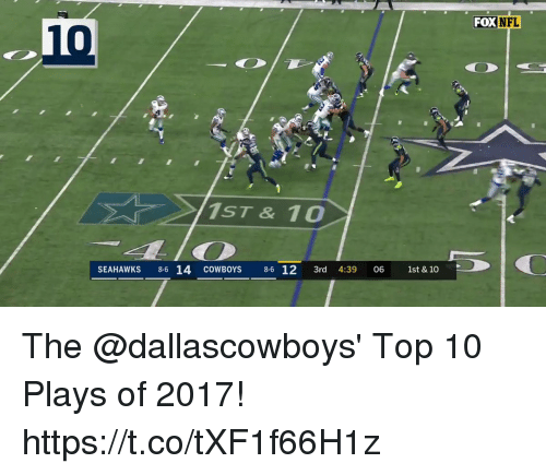 Dallas Cowboys, Memes, and Nfl: in  FOX NFL  10  1ST& 10  SEAHAWKS 8-6 14 cOWBOYS 8-6 12 3rd 4:39 06 1st & 10 The @dallascowboys' Top 10 Plays of 2017! https://t.co/tXF1f66H1z