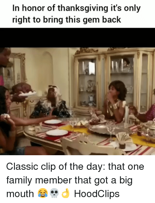 Family, Funny, and Thanksgiving: In honor of thanksgiving it's only  right to bring this gem back Classic clip of the day: that one family member that got a big mouth 😂💀👌 HoodClips